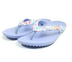 Crocs Thong Sandals Women's Sz 6 Purple White (tu36ep) - $24.74