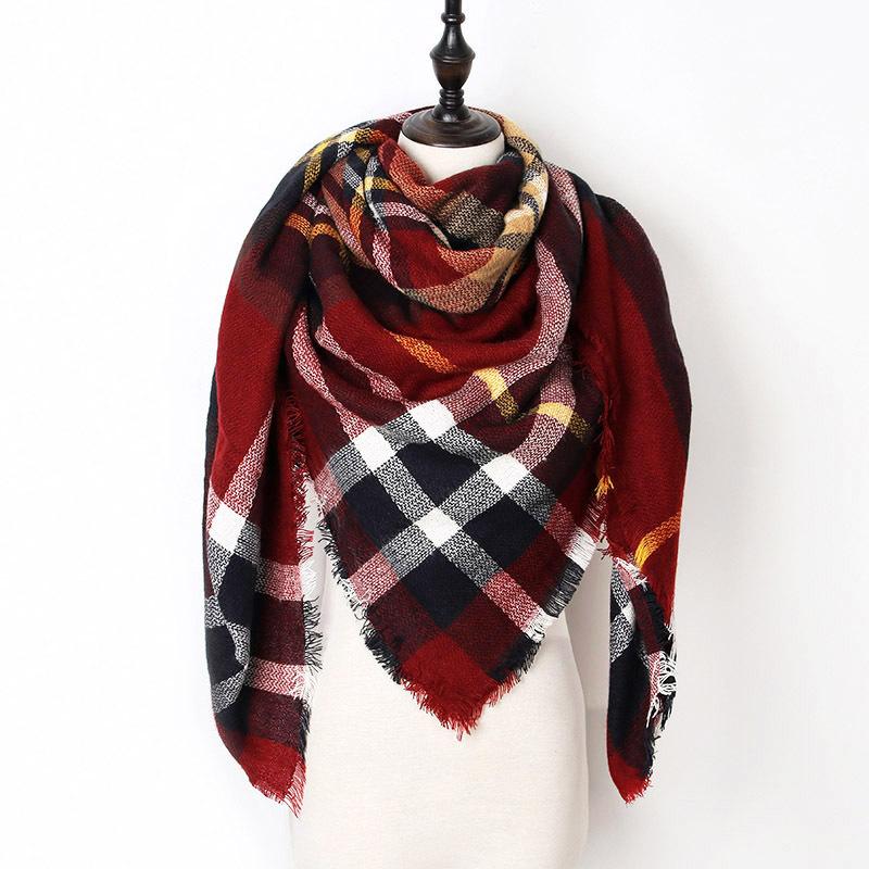 2017 New Fashion Winter Scarf For Women Scarf Luxury Brand Triangle Plaid Warm C image 4