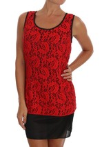 Dolce & Gabbana Red Floral Lace Blouse Top - $234.40