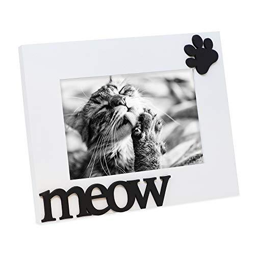 """Isaac Jacobs White Wood Sentiments Cat """"Meow"""" Picture Frame, 4x6 inch, Photo Gif"""
