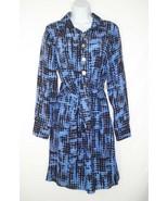 NWT Alice & Trixie Shirtdress Dress Blue Black Silk Belted S Small - $40.49