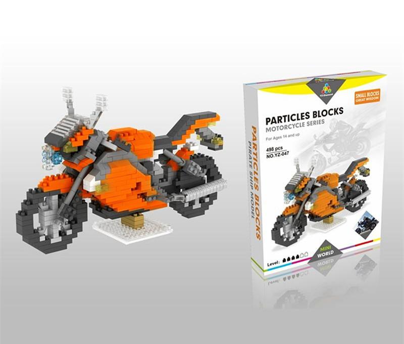 Particles Small Blocks Neon Orange Motorcycle 498 Pieces Blocks