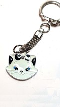 cat keychain keyring keyfob made from metal then enameled and a crystal in forhe