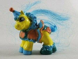 Vintage Pony Figurine Party Hat Carnival Carousel Yellow Skin Blue Hair - $12.99