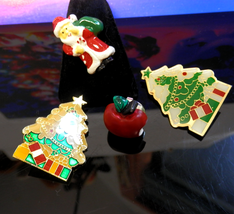 Lot of Holiday Pins Enamel Inlay Christmas Trees Acrylic Apple & Santa - $5.00