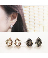 Water Drop Stud Earrings Made With Swarovski Stone 925 Silver Gold Black... - $23.99