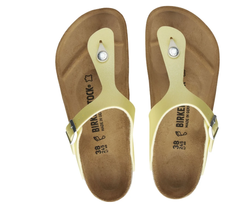 Birkenstock Women Gizeh Metallic Sulfur Yellow Birko Flor Comfort Sandal... - $113.99