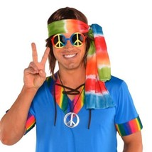 Groovy 60's Hippie Kit Tie Dye Head Scarf, Peace Sign Glasses and Necklace - €11,36 EUR