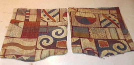 Pair of Beige Abstract Print Decorative Print Throw Pillows  12 x 12 - $29.95