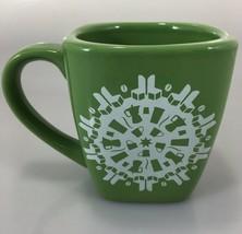 Starbucks 2004 Green Square Coffee Mug Snowflakes of Cups Chairs Percola... - $35.77