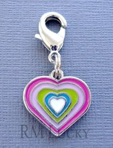 Dangle Heart Clip On Charm w/ Lobster Clasp for Link Chain, floating locket C94 - $2.23