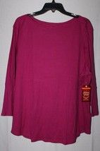 NEW FADED GLORY WOMENS PLUS SIZE 4X 26 28W PINK BOATNECK TEE T SHIRT 3/4... - $18.18