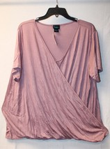 New Womens Plus Size 3 X Pink Crossed Front Surplice Tee T Shirt Top Work Or Play - $19.34