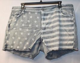 NEW WOMENS PLUS SIZE 24W 24 AMERICANA STARS & STRIPES ACID WASHED JEAN S... - $17.41