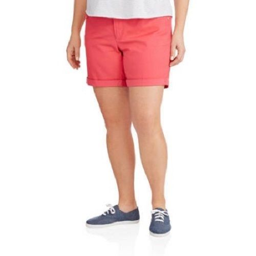 """NEW WOMENS PLUS SIZE 22W 22 DESERT PEACH CORAL BELTED 7"""" 5 POCKET JEAN SHORTS - $13.54"""
