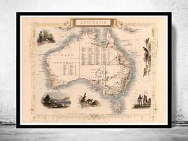 Old Map Australia 1851 Vintage Map - $24.00