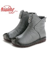 Xiuteng 2019 Winter Genuine Leather Women Ankle Boots Handmade Embroider... - €32,88 EUR+