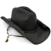 Shapeable ROLLUP Rolled Brim Toyo Straw Cowboy Cowgirl Western Hat BLACK - ₨1,688.36 INR