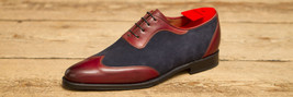 Handmade men genuine leather and suede wingtip formal shoes Men dress shoes - $159.99