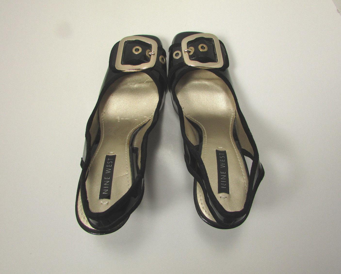Nine West Black Leather Chunky Heel Slingback W/Buckle High Heel Shoe Size 8 M