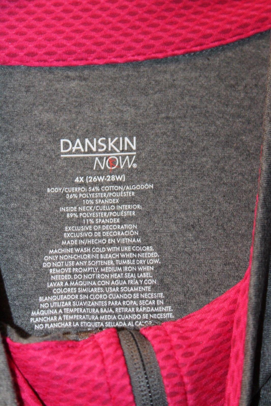 81244c6af36 NEW DANSKIN WOMENS PLUS SIZE 4X 28W GRAY   PINK ZIP FRONT LIGHT JACKET  HOODIE