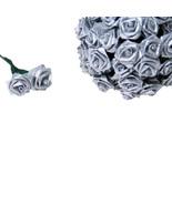 144 Silk Mini Wrap Roses Wedding Shower Flower Picks - Silver - $3.95