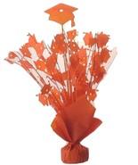 "2 shiny orange hats Graduation Balloon Weights  15"" tall centerpiece dec... - $9.85"