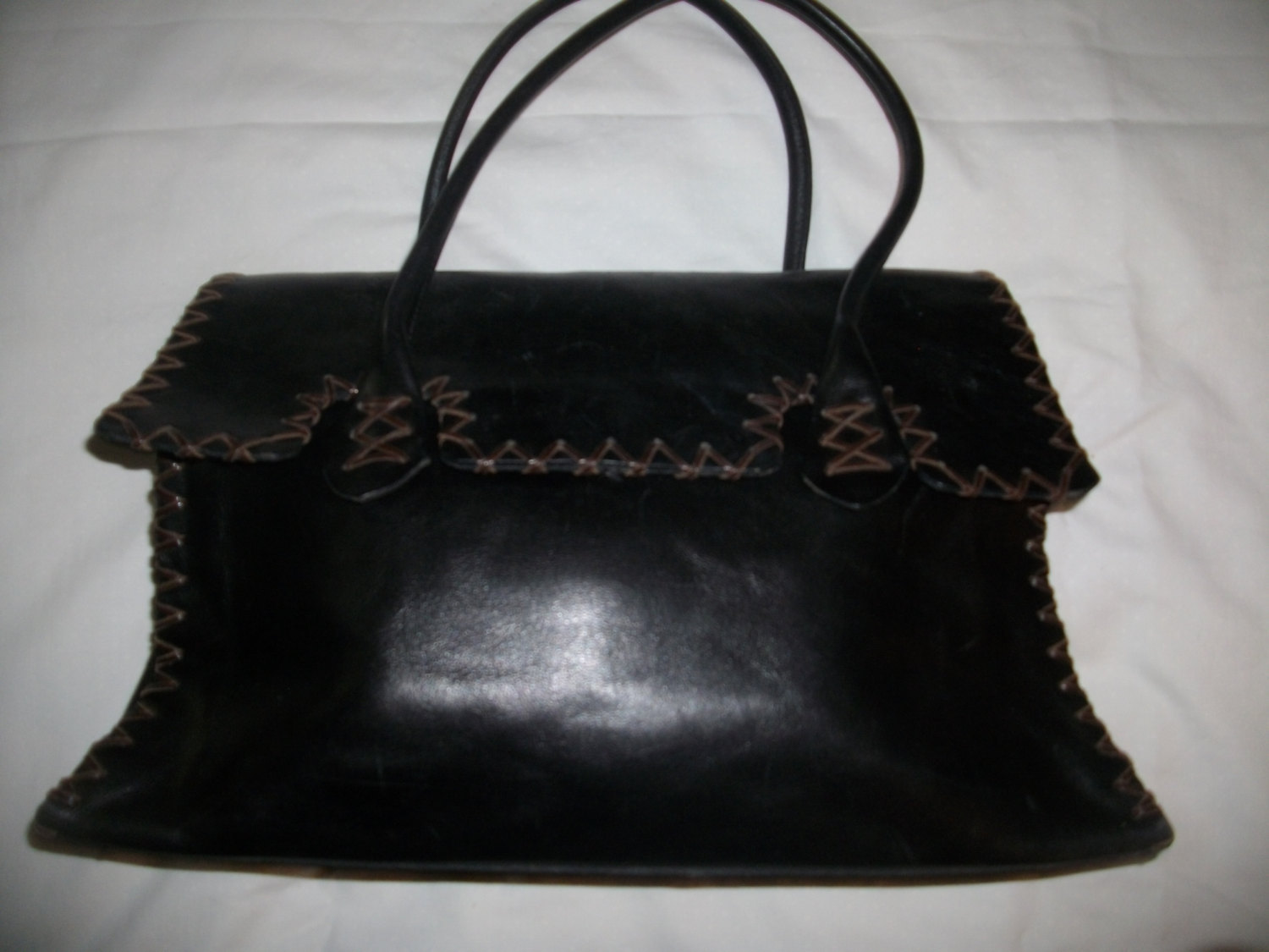 51a8b585a607 TANO New York Leather Stiched Black Tote Bag -  65.00