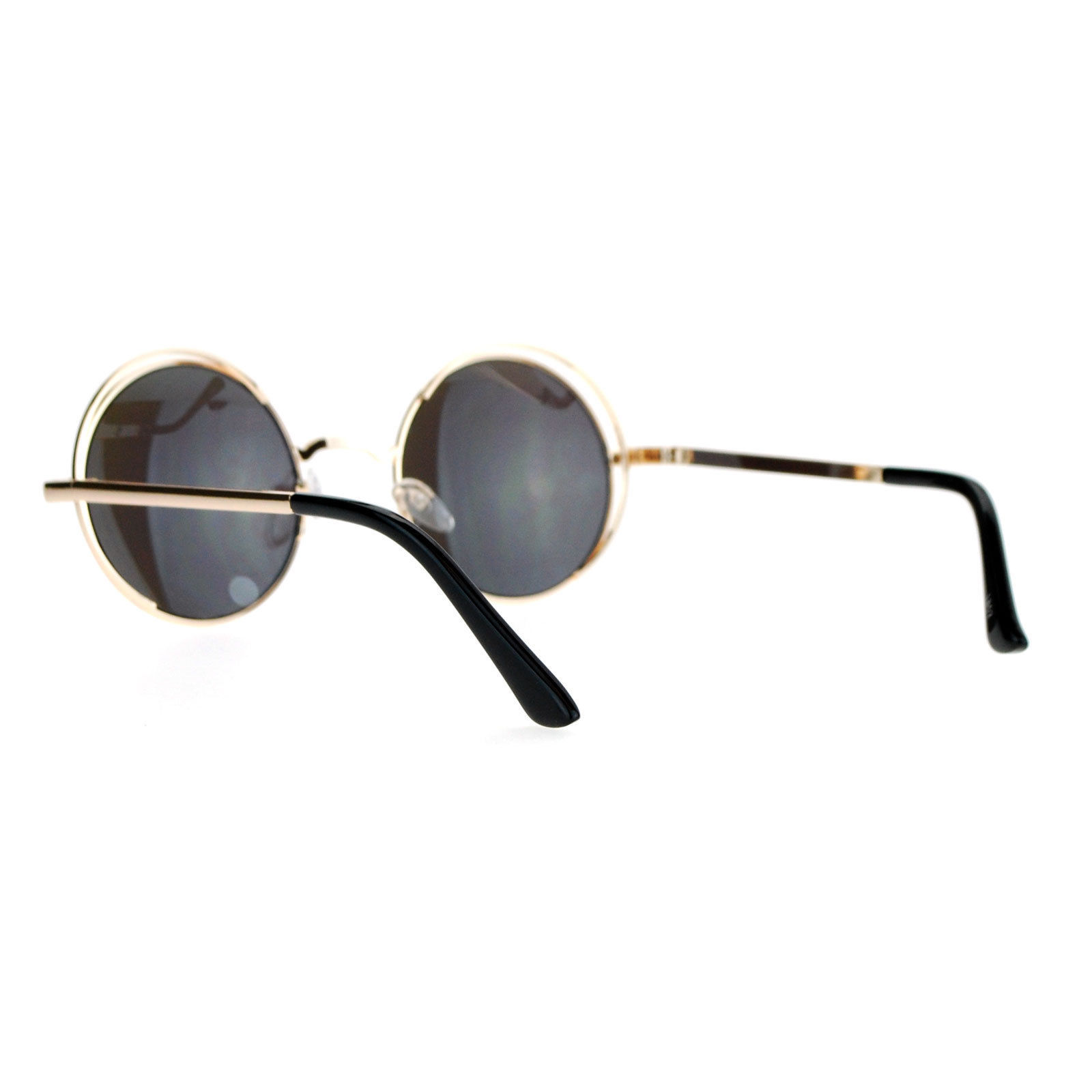 Womens Sunglasses Round Circle Double Metal Frame Mirror Lens UV 400