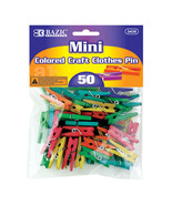 50 Multi Colored Mini Craft Clothespins Clothes... - $3.95