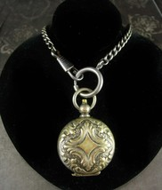 1890's sovereign case ANTIQUE fancy SILVER pocketwatch shape coin holder... - $225.00