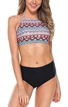 Vegatos Women High Neck Crop Bikini Swimwear Cross Back Two Piece Swimsu... - $21.49