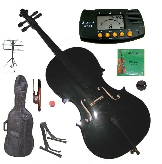 1/4 Size Black Cello with Bag and Bow+Extra Strings+2 Stands+Tuner+Rosin+Mute