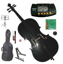 1/4 Size Black Cello with Bag and Bow+Extra Strings+2 Stands+Tuner+Rosin+Mute - $130.00
