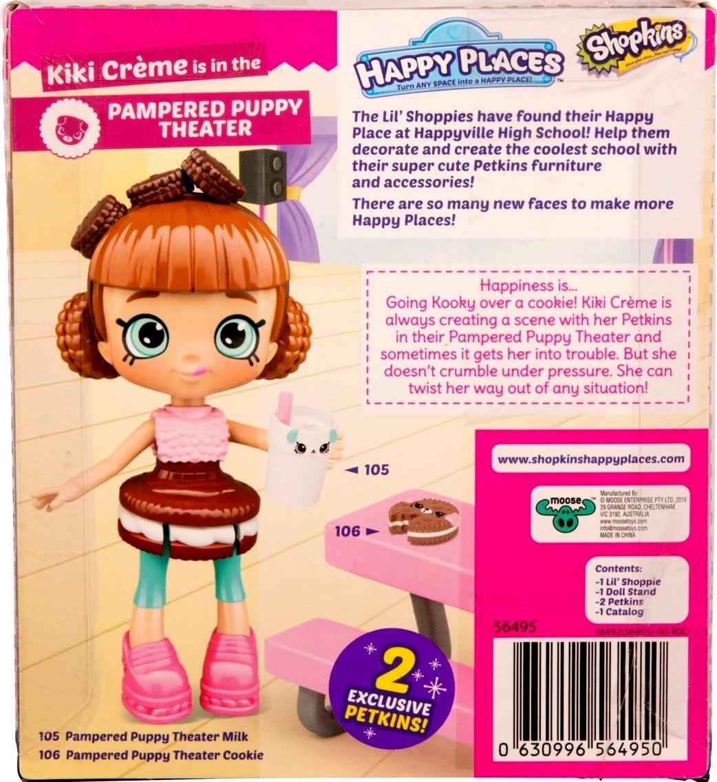 Shopkins Happy Places Kiki Creme & 2 exclusive Petkins  Lil' Shoppie Pack S3