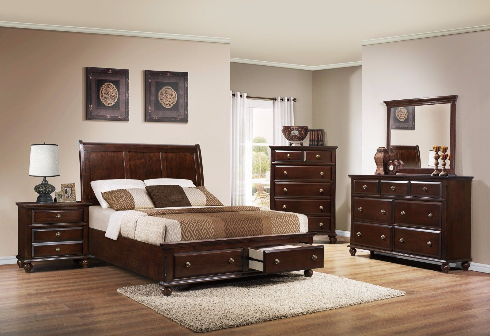 Crown Mark RB6075 Portsmouth Queen Size Bedroom Set 5pc.Brown Contemporary Style