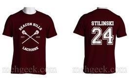 Stilinski 24 Stiles Cross Beacon Hills Lacrosse Teen Wolf Men Tee Maroon - $24.00