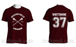 Whittemore 37 Cross Beacon Hills Lacrosse Teen Wolf Men Tee Maroon S To 3 Xl - $24.00