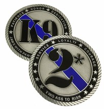 "POLICE OFFICER K-9 JAWS WITH PAWS 3"" MEDALLION TWO ASS TO RISK CHALLENGE... - $27.07"