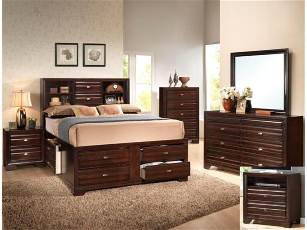 Crown Mark RB4590 Stella Queen Captains Bedroom Set 5pc. Dark Brown Casual Style