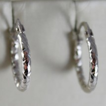 18K WHITE GOLD EARRINGS MINI HAMMERED CIRCLE HOOP HOOPS 14 MM DIAM MADE IN ITALY
