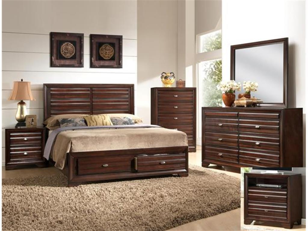 Crown Mark RB4550 Stella King Storage Bedroom Set Transitional 2 Night Stands