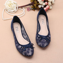 Dark Blue See Through Lace Shoes,Shoe lace styles,Lace Up Flats,Lace Ballet Flat - $48.00
