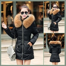 Racoon Faux Fur Trimmed Hood Long Sleeve Duck Down Black Parka Coat Jacket