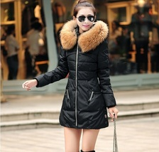 Racoon Faux Fur Trimmed Hood Long Sleeve Duck Down Black Parka Coat Jacket image 2