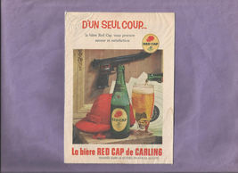 Vintage French Language RED CAP ALE From Carling Print AD - $5.00