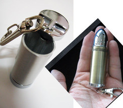 Bullet Shape mini Portable Ashtray silver color... - $11.00