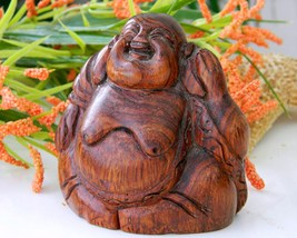 Vintage Wood Laughing Buddha Figurine Carved Statue Sculpture - $17.95