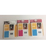 3 x NEW HP 44 Color Ink Cartridge (2 Cyan, 1 Magenta) Genuine Original Sealed  - $16.82