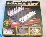 Game Set 3 Chess Checkers Backgammon Wood & Glass +8 Cardinal Style 82-25